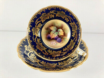 Paragon Cup Saucer Blue Gold Fruit Double Warrant Signed P. Hall