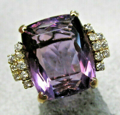 Beautiful Estate Amethyst and Diamond Ring 14k Gold Size 8   MAKE OFFER