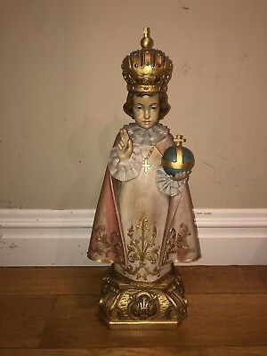"Hand Carved Wood Statue ""The Infant of Prague""  From Italy 19"" Tall"