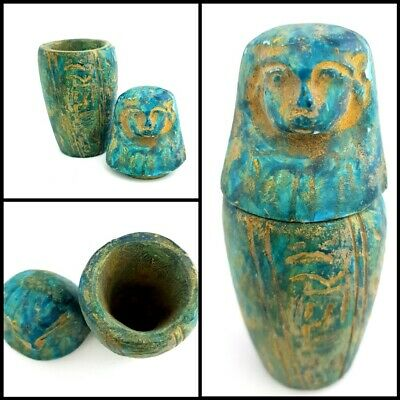 Rare Ushabti Jar Ancient Egyptian Antique Canop Figurine W/T Hieroglyphics Art