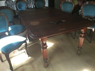 MVictorian antique solid Cuban mahogany extending dining table for 8. + chairs.