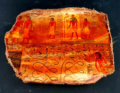Rare Hieroglyphic Egyptian Antique Amazing Scene Relief Wall Craft Plaque Stela