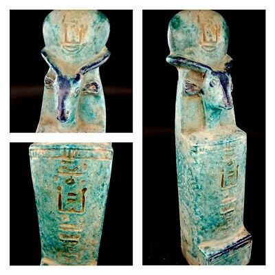 Giant Khnum - Khufwy Child Protector Sculpture Egyptian Antique Glazed Faience