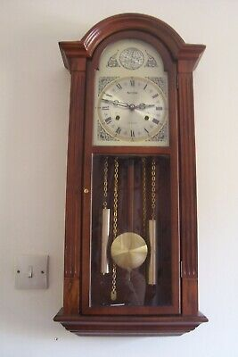Vintage Acctim Wall Clock Mahogany Case Strikes on Gong Mechanical Movement Key