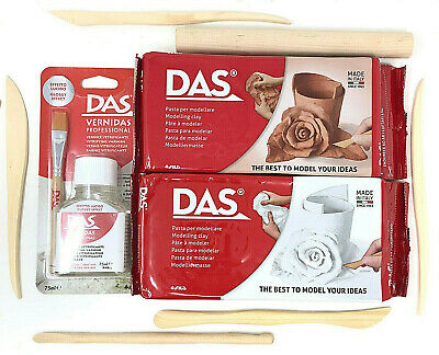 1kg DAS AIR DRYING MODELLING CLAY WHITE & TERRACOTTA WITH VARNISH & CUTTING TOOL