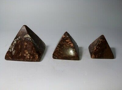 Ancient Egypt Pyramids Of Giza Red Marble Stone Set Of 3 Pieces