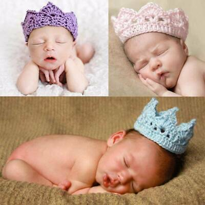UK Baby Princess Crochet Crown Tiara Headband 2-10 Months Crochet Knitted