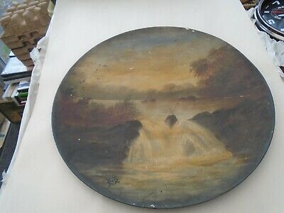 Large antique tin metal charger plate with hand painted waterfall landscape LOOK