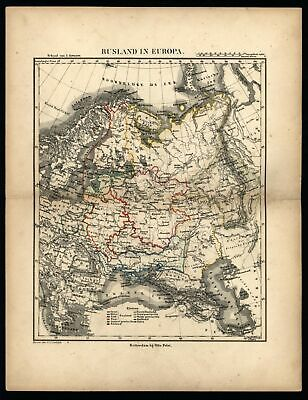 Russia in Europe c.1850 Petri Baedeker scarce map