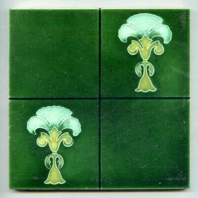 "Relief moulded 6""sq Art Nouveau tile by Henry Abraham Ollivant, c1905"