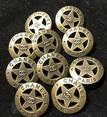 Chanel CC Logo Coco Star Button Gold-matte Brassy 22mm .8 Inches Price Is For 10