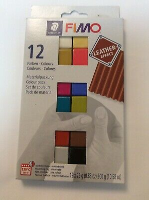 Staedtler FIMO Leather Effect Modelling Moulding Oven Bake Clay - 12 x 25g
