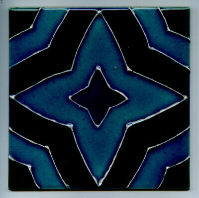 "Tube-lined 6""sq trial tile by Ann Clark for Kenneth Clark Ceramics, c1990"