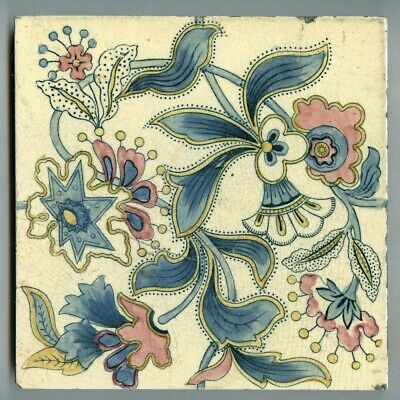 "Transfer printed & hand coloured 6""sq Victorian tile by Marsden Tile Co, 1898"