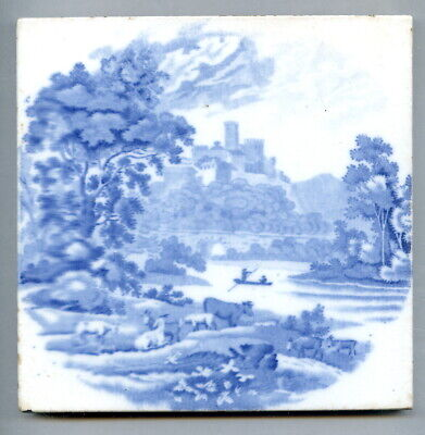 "Transfer printed 6""sq Edwardian tile by Booth's Ltd, c1905"