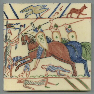 "Handpainted 6""sq tile from the ""Bayeux Tapestry"" series by Packard & Ord, 1947"