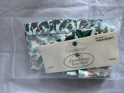 Longaberger Finishing Touches Holly Fabric Liner For Tall Tissue Basket Holiday