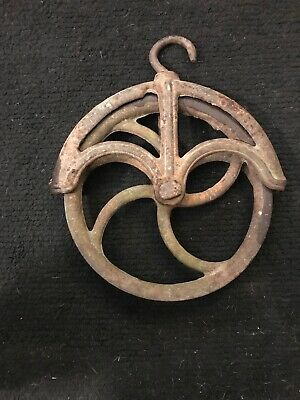 Vintage Cast Iron Metal Water Well Barn Pulley Wheel Block Tackle Hoist -11-1/2""