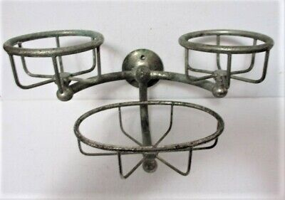 Antique 2 Cup Soap Dish Wall Mount Sponge Holder Nickel Over Brass Victorian