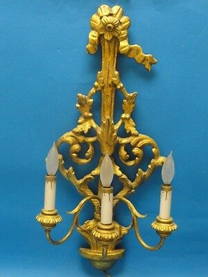 """Antique Italian Gilt Carved Wood Baroque Style 3 Arm Sconces ~ 25"""""""