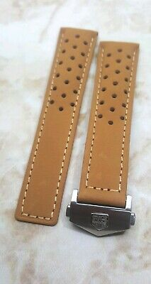 22MM LEATHER BAND STRAP DEPLOYMENT FOR TAG HEUER CARRERA BLACK RED STITCHING 5TC