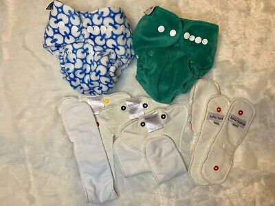 Bitti Tutto One Size Cloth Diaper Lot. 2 soft minky covers, 6 Inserts. HTF brand