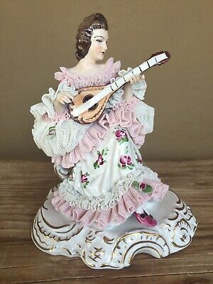 Dresden Lace Porcelain figurine of woman with musical instrument