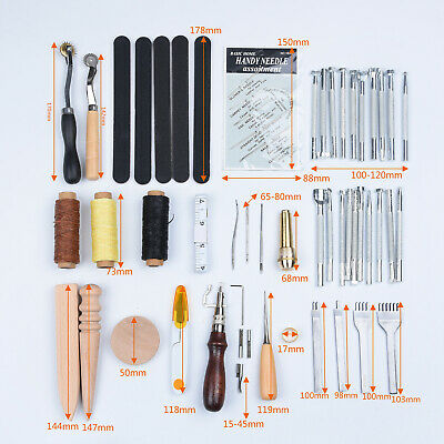 Sale 59x Leather Craft Tools Kit Stitching Sewing Beveler Punch Work Hand Tool #