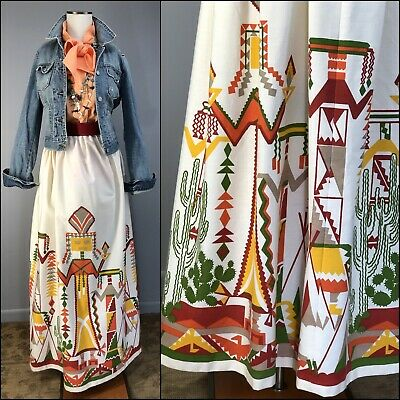 Vtg 70s Skirt Maxi Yei Kachina Cactus Mid Century Novelty Print Fabric Cotton