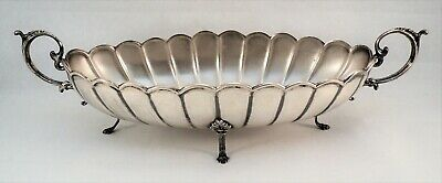 Antique STERLING Silver Early 1930s CAMUSSO PERU Scalloped OVAL BOWL + FEET 300g