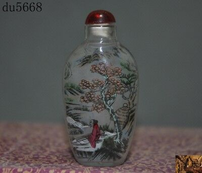 China dynasty Glass Inside Painting landscape Ancient people statue Snuff bottle