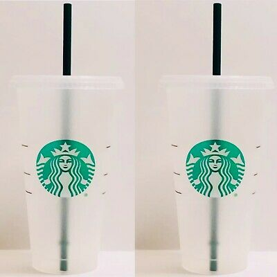 Starbucks Reusable Plastic Venti Cup Clear Frosted 24oz Cold Cup + Straw 2 CUPS