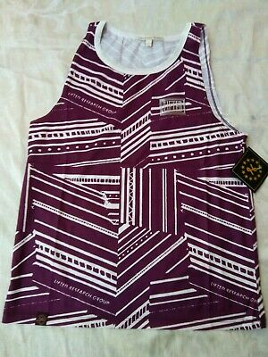 Womens SMALL LRG Lifted Research Group Tank Top Tee Print Stripes Maroon