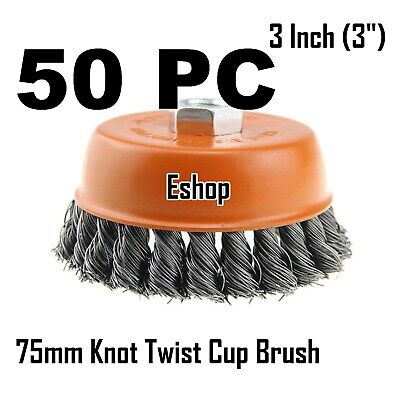 """50 x 3"""" Wire Cup Brush Wheel for 4-1/2"""" Angle Grinder 5/8-11 Twist Knot Hoteche"""