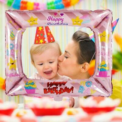 3pcs Photo Frame Foil Balloons Photo Props Kids Happy Birthday Party Decoration