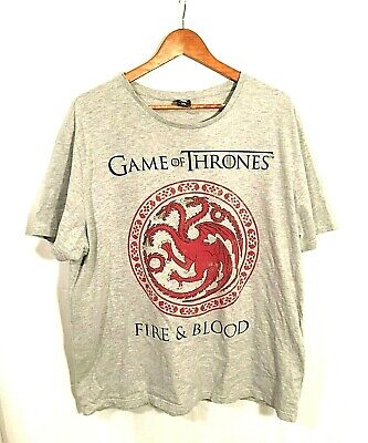 HBO Game of Thrones Targaryen Dragon Fire And Blood T-Shirt Grey Red size 3XL
