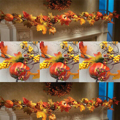 2.7M LED Lighted Fall Autumn Pumpkin Maple Leaves Garland Thanksgiving Decor