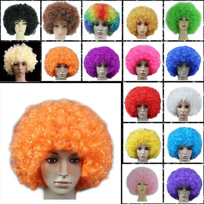Funny Clown Curly Afro Circus Fancy Hair Wigs Cosplay Disco Costume Uxym