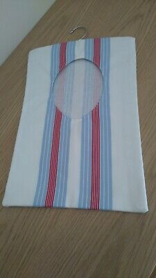 Handmade Peg Bag - white with blue and red stripes