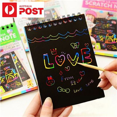 Kids Magic Scratch Art Doodle Pad Rainbow Paper Toy Graffiti Drawing Notebook