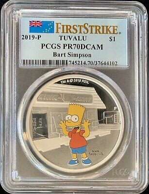 2019-P $1 Tuvalu Bart Simpson 1oz .9999 Silver Proof MINT Coin PCGS PR70DCAM FS!