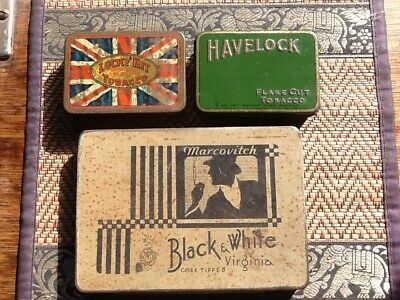 Lucky Hit & Havelock Tobacco Tin And Black & White Cigarette Tin.