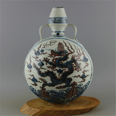 Chinese ancient antique hand make Blue and white  Dragon pattern  vase s32