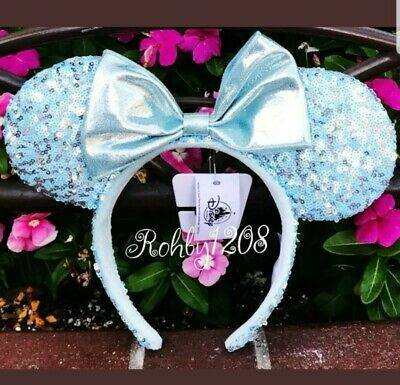 IN HAND Disney Parks Frozen Arendelle Aqua Minnie Mouse Ears Sequin Headband NEW