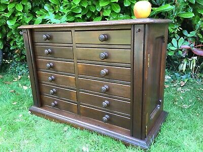 Large Victorian Mahogany Wellington Chest Or Collectors Cabinet