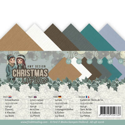 250gr Leinenkartonpack 30,5 x 30,5 CM-Amy Design-Christmas Greetings