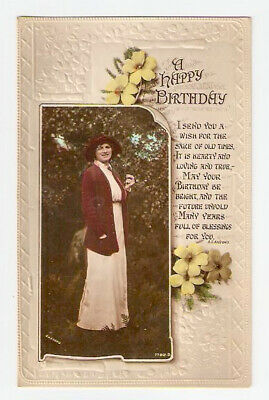 First World War Period Birthday Postcard. Rotary Real Photo Series 1917 Embossed