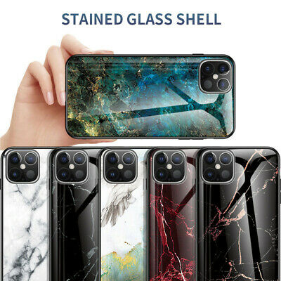 For iPhone 11 Pro Max XS Max XR X Luxury 3D Pattern Marble Tempered Glass Case
