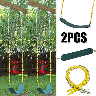 """2Pack Heavy Duty Swing Seat 60"""" Chain Plastic Coated Kids Playground Accessories"""