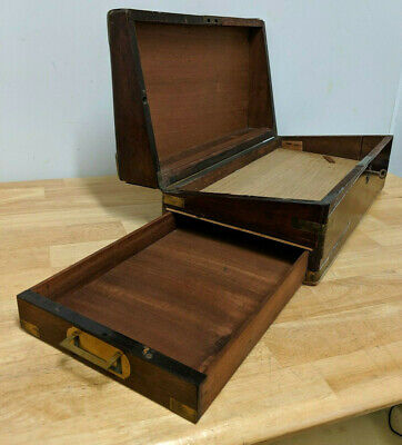 Antique Wooden Brass Bound Writing Stationary Box Writing Slope - Drawer & Key